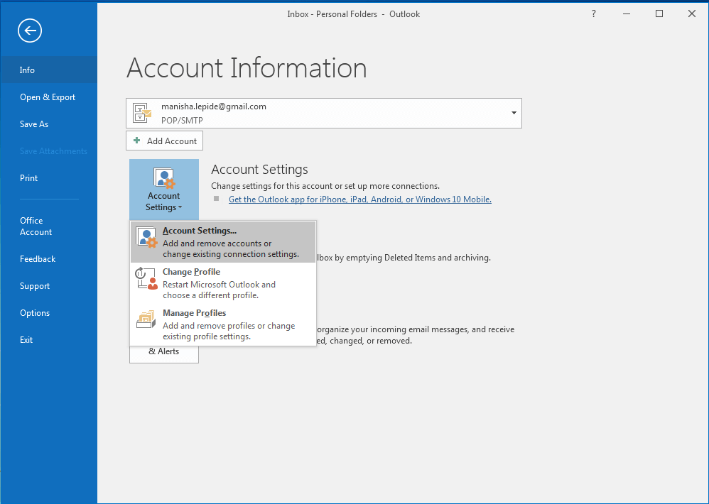 Change Default Mail Delivery Location in Outlook