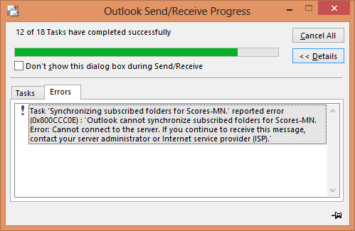 """Fixing """"Outlook Cannot Synchronize Subscribed Folders"""" Error"""