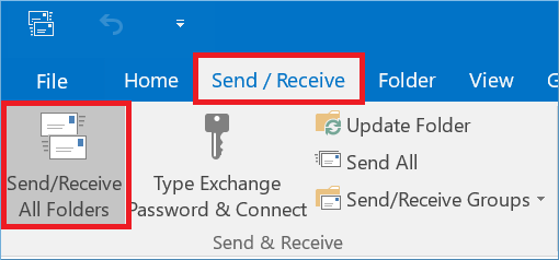 click the Send/Receive and also Send/Receive All Folder option