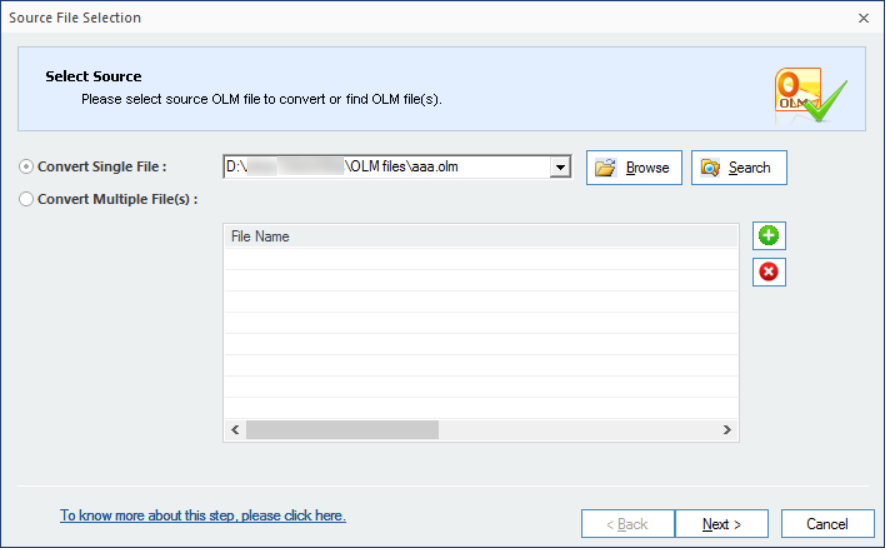 OLM file added click next