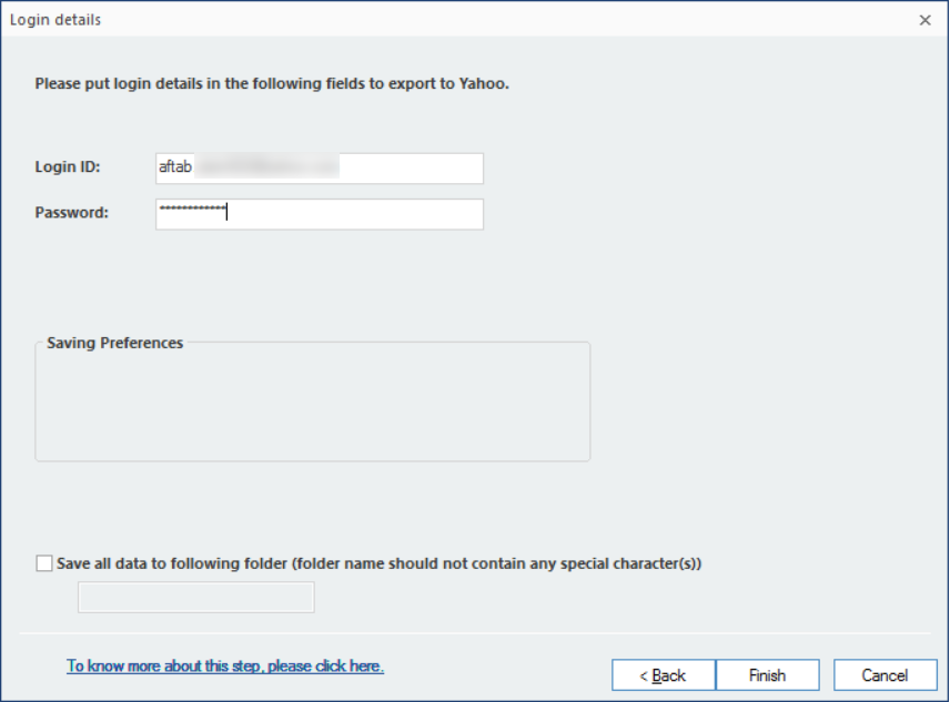 input the required credentials for the Yahoo