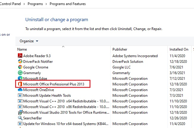 locate Microsoft Office