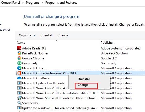 Change Microsoft Office option