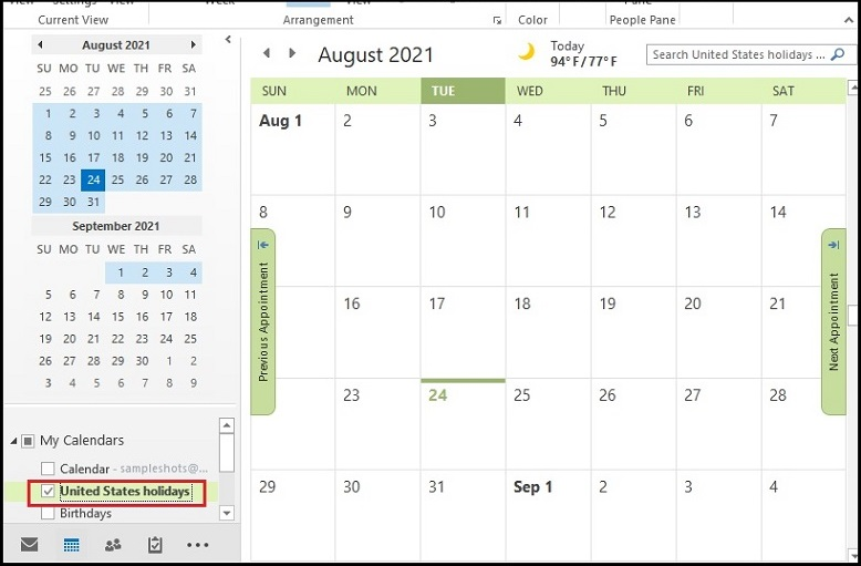 right-click on the calendar you wish to delete
