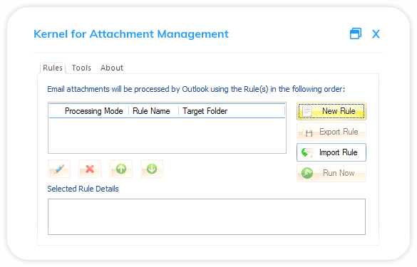Welcome window of Kernel for Attachment Management