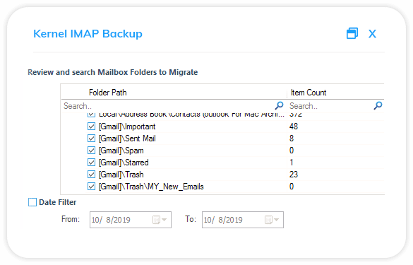 Select output type for backup