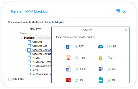 Review and search mailbox folders to migrate