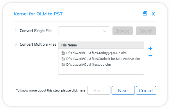 Choose to convert single or multiple files. To add multiple OLM files, click on the Add (+) button