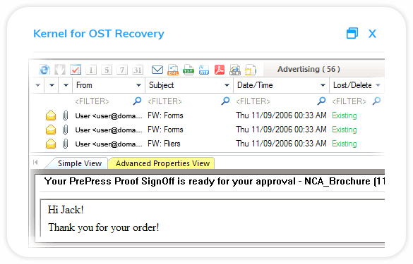 After the successful recovery, the software displays the preview of restored mailbox items