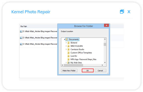 Save the repaired images at the desired location