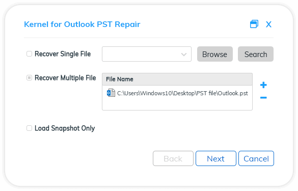 Select the source PST file by clicking the Browse button.