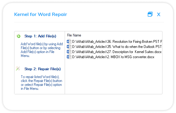 Start with adding the corrupt Word file.