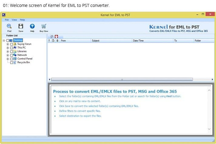 Main window of Kernel for EML to PST Software