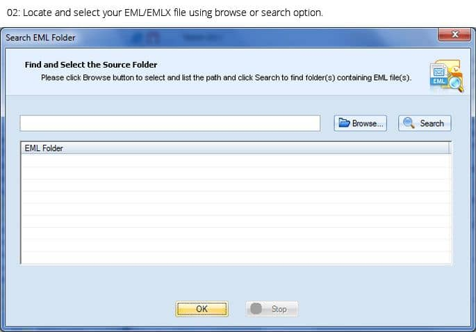 Search EML Folder dialogue box to search out EML/EMLX folders