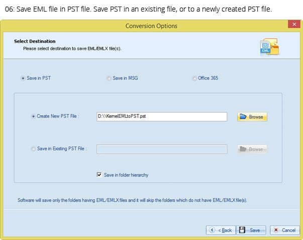 Providing the location of the newly created PST files