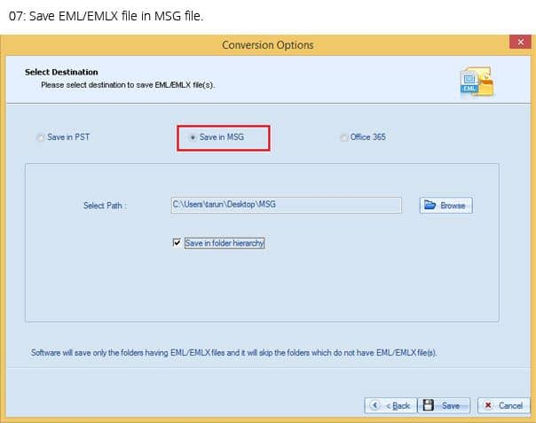 Save EML file in MSG file format