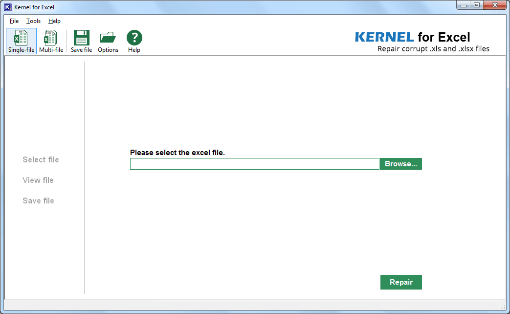 Home page of the tool and selecting the file recovery mode