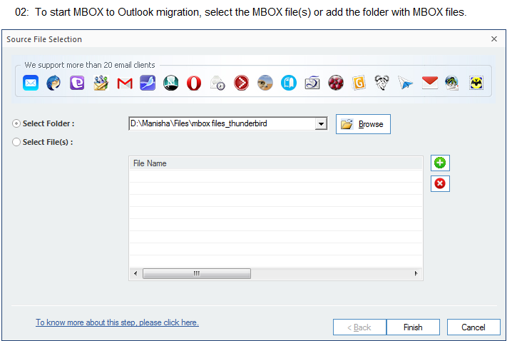 To start MBOX to Outlook migration, select the MBOX file(s) or add the folder with MBOX files.