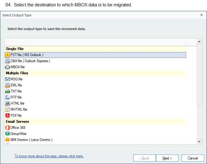 Select the destination to which MBOX data is to be migrated.
