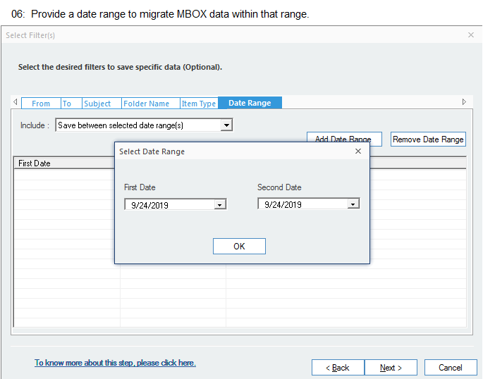 Provide a date range to migrate MBOX data within that range.