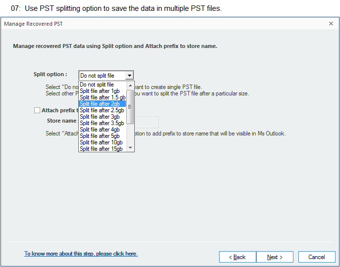 Use PST splitting option to save the data in multiple PST files.