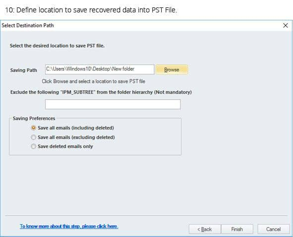 Specify the location to save the PST File