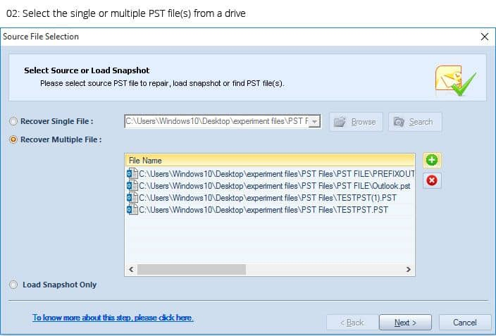Select the single or multiple PST file(s) from a drive