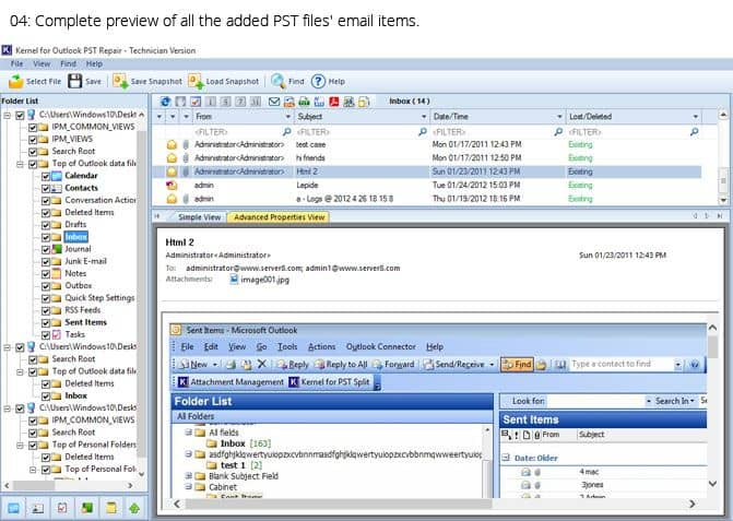 Complete preview of all the added PST files' email items