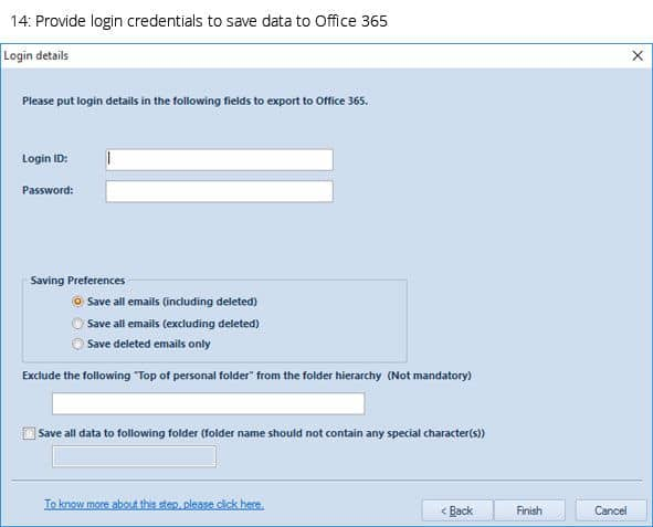 Provide login credentials to save data to Office 365