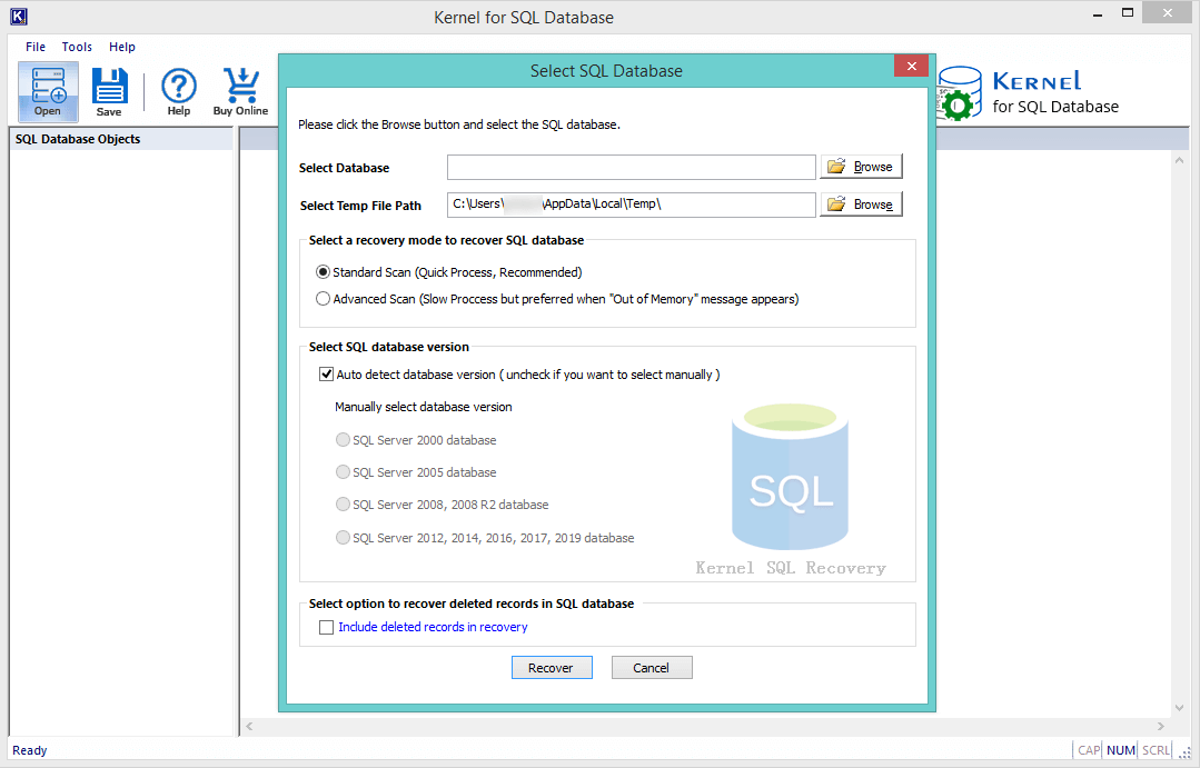 Home Screen of Kernel SQL Database Recovery