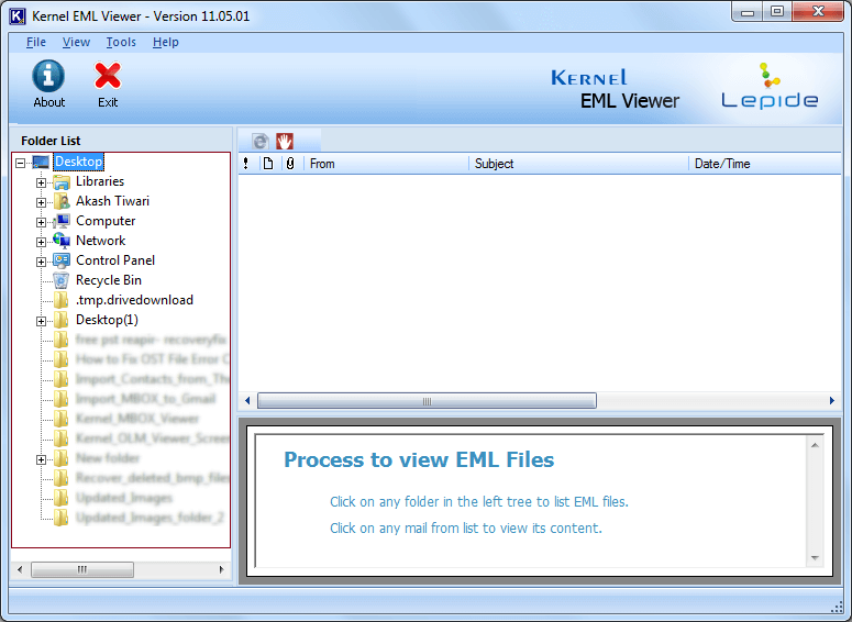 Welcome Screen of EML Viewer Freeware