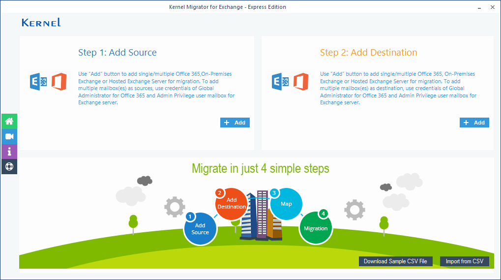 Welcome Screen of Kernel Migrator for Exchange - Express Edition