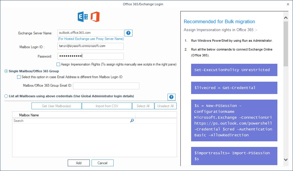 Provide the account credentials for Office 365 account to add as the destination.