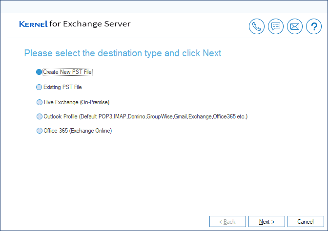 Select 'Create New PST File' option to add as destination.