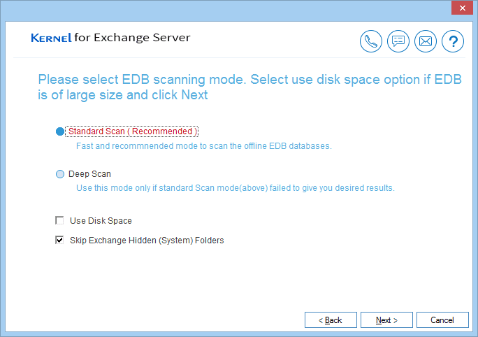Choose any of the two recovery modes to repair corrupt EDB file.
