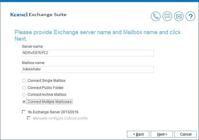 Enter the Live Exchange account credentials