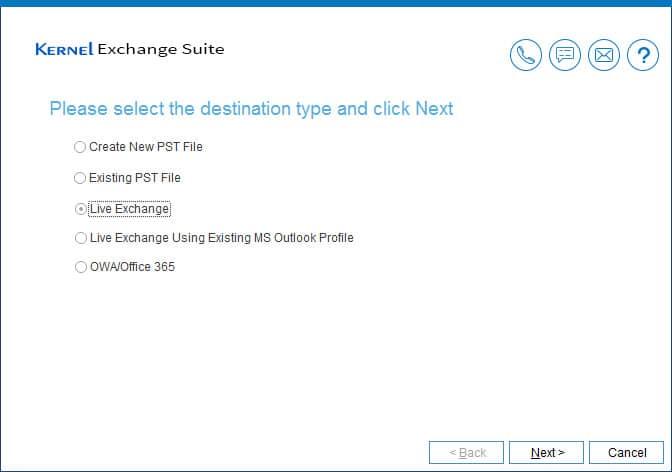 Select 'Live Exchange' as your destination
