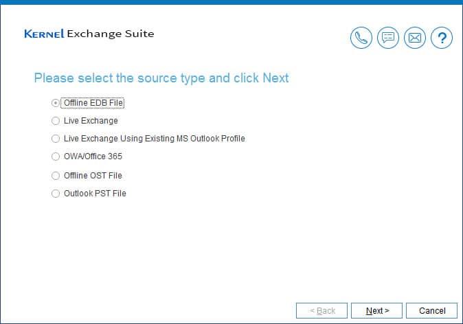 Select offline EDB as the source