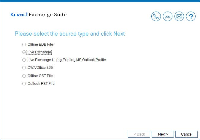 Select Live Exchange as Source type