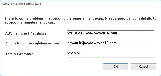 This option appears when you are performing Remote mailbox login