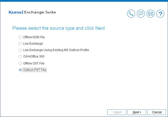 Select 'Outlook PST file' as source type