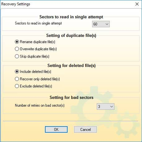 Selection of folder to perform required data recovery