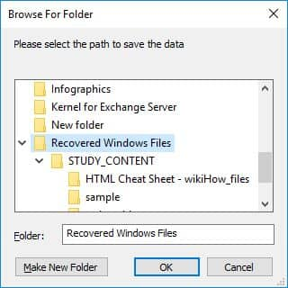 Define the path to save Windows data
