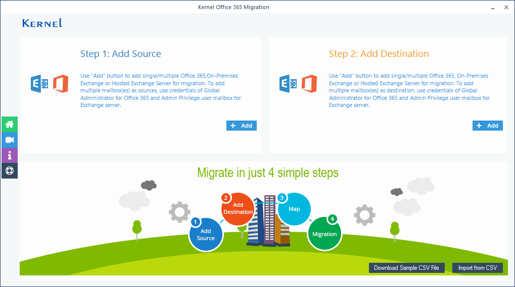 Welcome screen of Kernel Office 365 Migration software