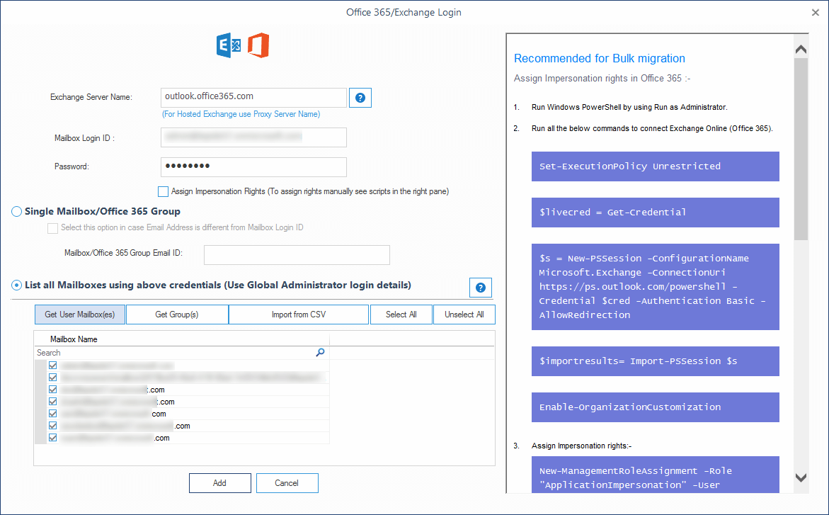 Adding multiple mailboxes from Office 365 account