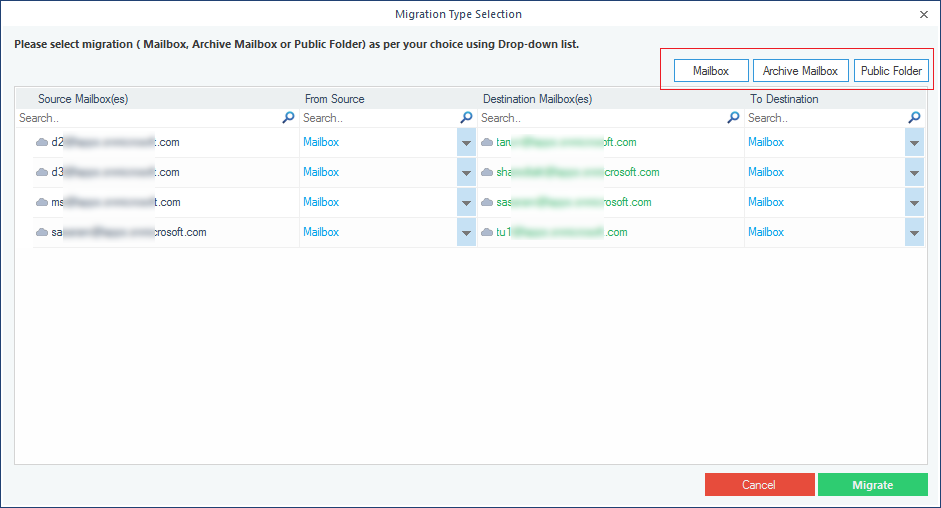 Opting the type of data for each source & destination mailbox