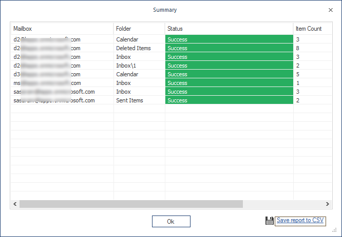 Option to save the migration report to CSV file