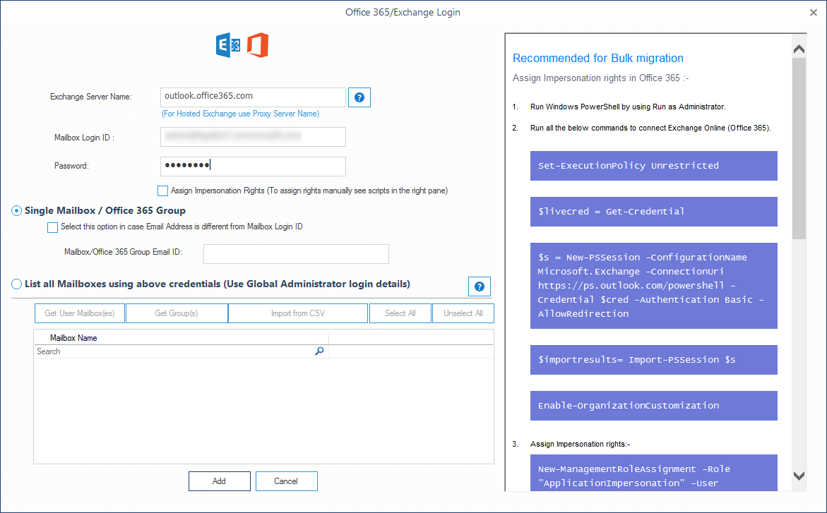 Providing source Office 365 account login details