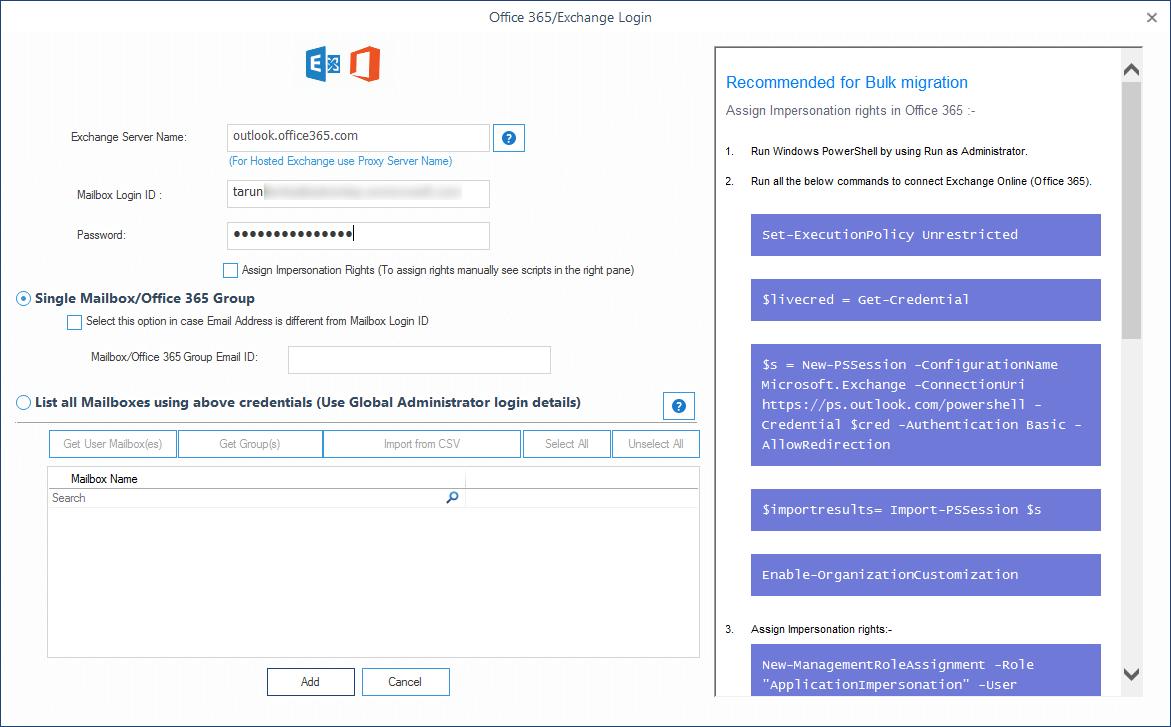 Entering destination Office 365 account login credentials