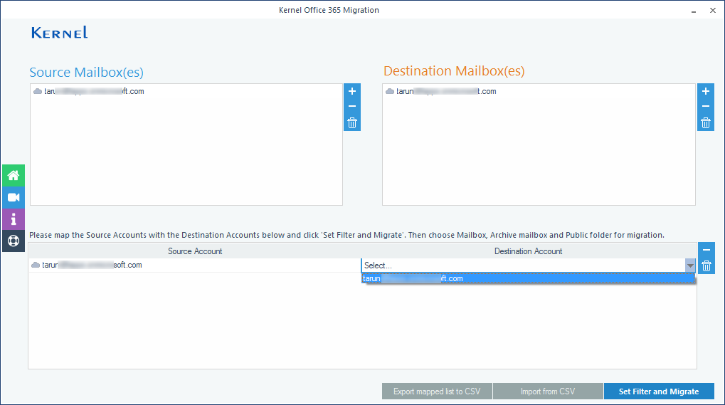 The mapping between source and destination mailboxes